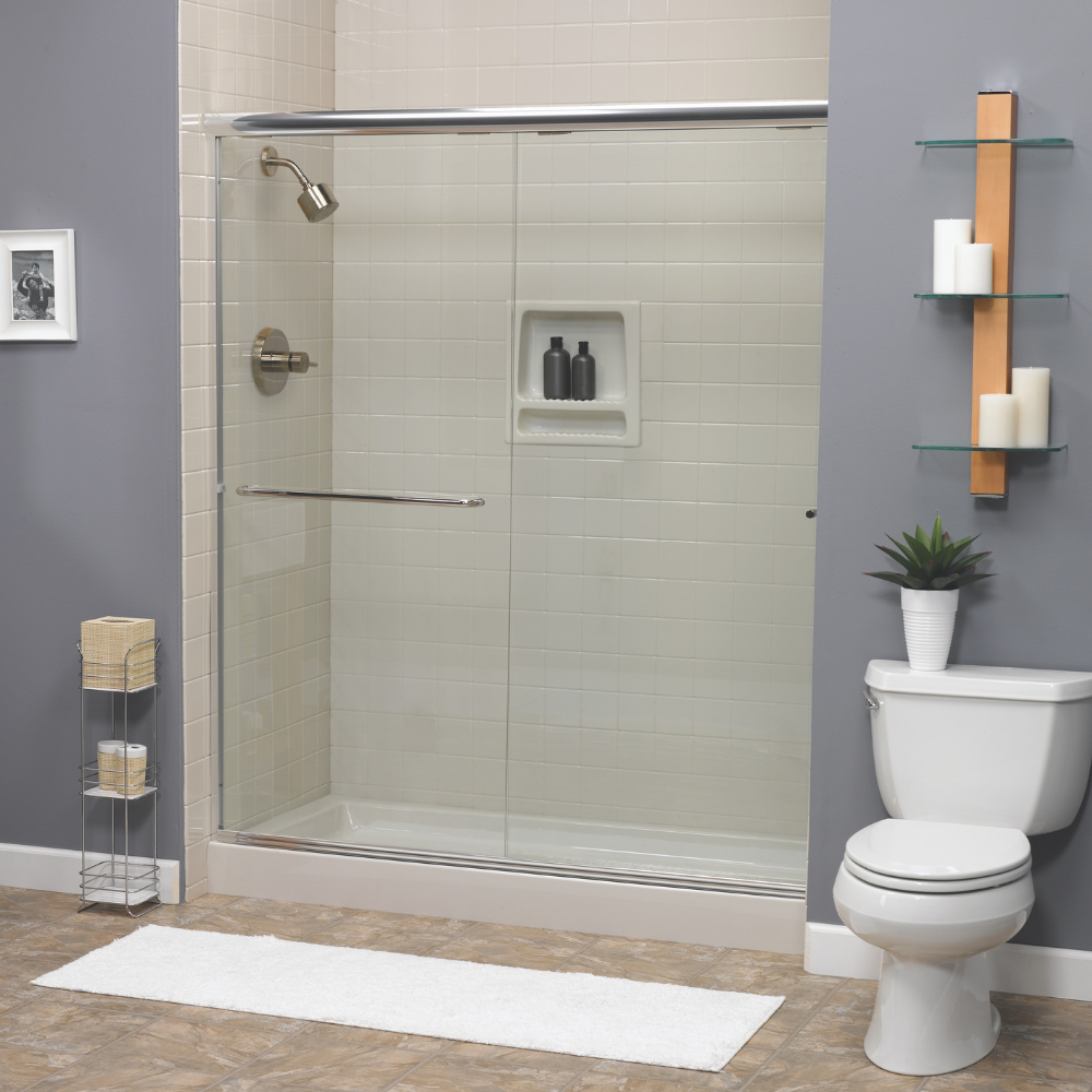 New Acrylic Shower with Tile Wall