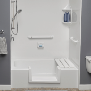 White Low Threshold Shower Bathtub with Seat & White Acrylic Walls Accessibility