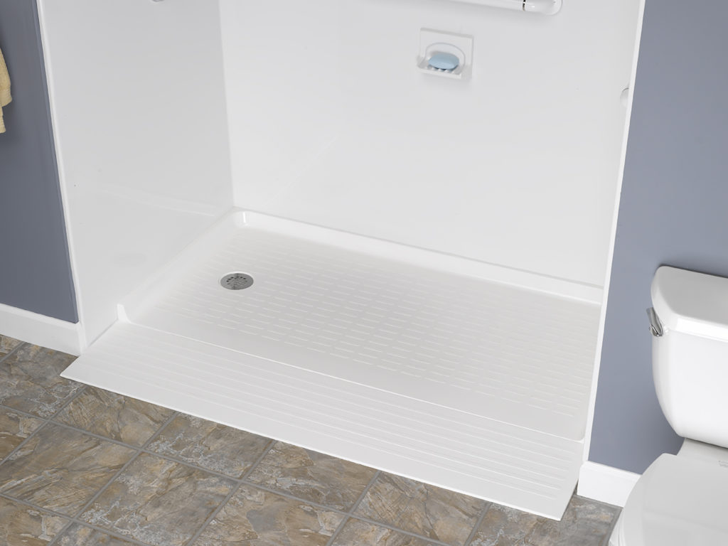 White Low Threshold Shower & White Acrylic Walls Accessibility in New Bathroom
