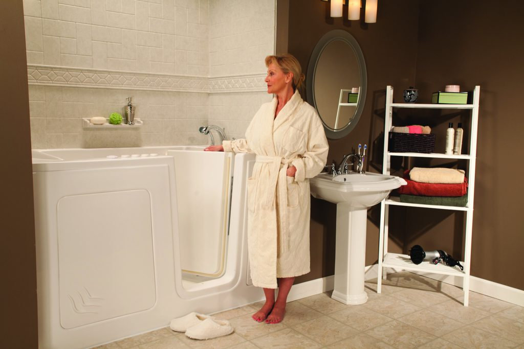 Alexia in her new white walk-in tub. Great for seniors looking for accessibility options