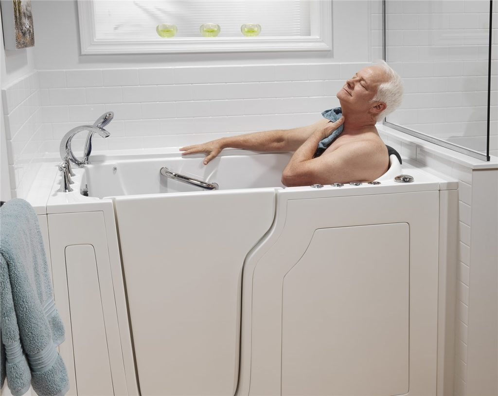 Walk in Tub with Senior Man and Acrylic Walls